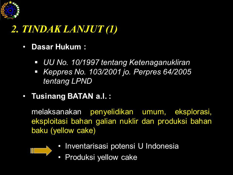 2. TINDAK LANJUT (1) Dasar Hukum :  UU No. 10/1997 tentang Ketenaganukliran  Keppres No.