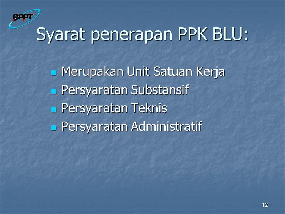 12 Syarat penerapan PPK BLU: Merupakan Unit Satuan Kerja Merupakan Unit Satuan Kerja Persyaratan Substansif Persyaratan Substansif Persyaratan Teknis Persyaratan Teknis Persyaratan Administratif Persyaratan Administratif