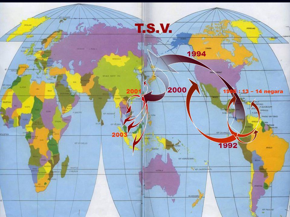 27 2000 2001 2003 T.S.V. 1992 1996 : 13 – 14 negara 1994