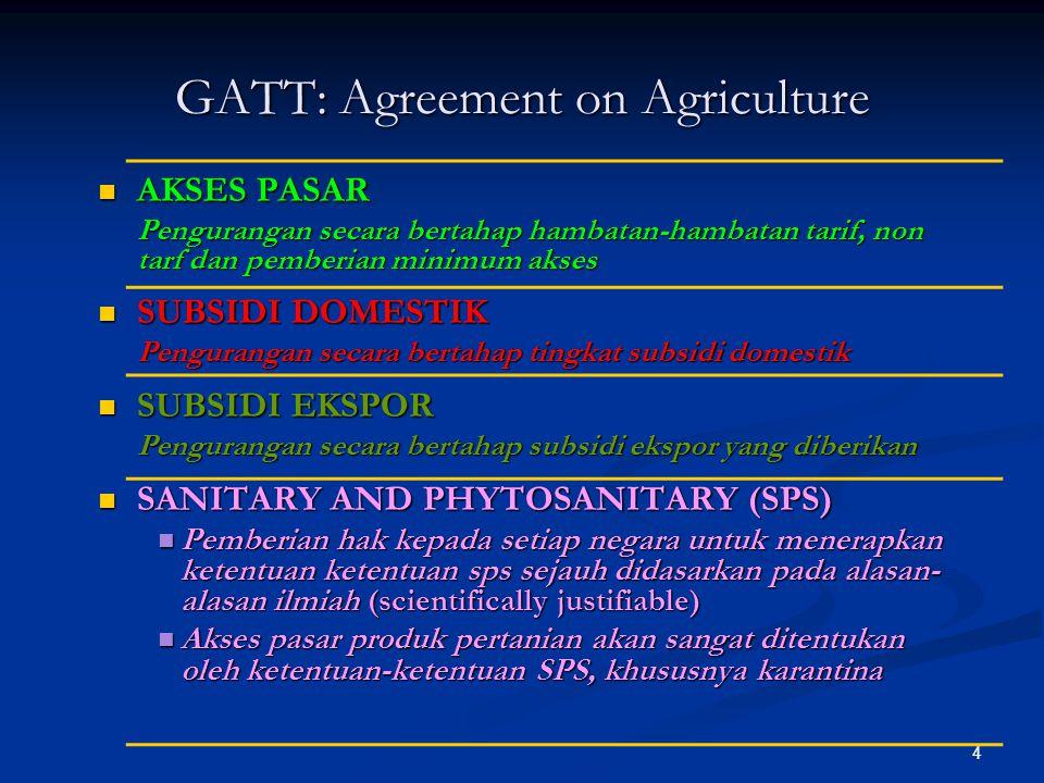 4 GATT: Agreement on Agriculture AKSES PASAR AKSES PASAR Pengurangan secara bertahap hambatan-hambatan tarif, non tarf dan pemberian minimum akses SUB