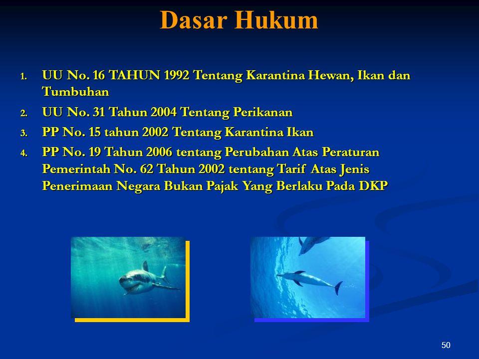 50 Dasar Hukum 1. UU No. 16 TAHUN 1992 Tentang Karantina Hewan, Ikan dan Tumbuhan 2. UU No. 31 Tahun 2004 Tentang Perikanan 3. PP No. 15 tahun 2002 Te