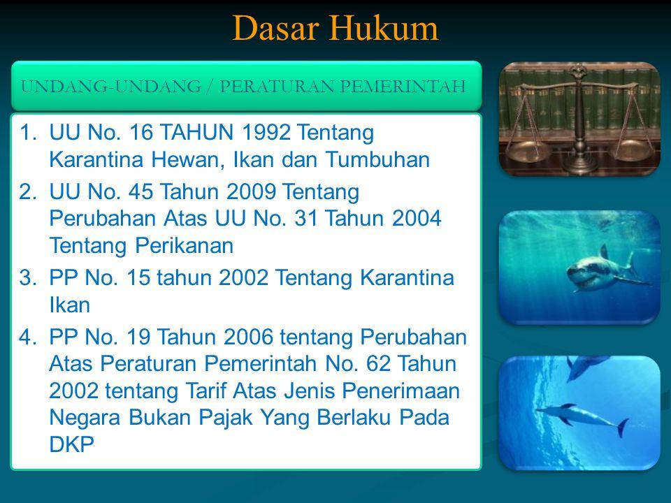 UNDANG-UNDANG / PERATURAN PEMERINTAH 1.UU No. 16 TAHUN 1992 Tentang Karantina Hewan, Ikan dan Tumbuhan 2.UU No. 45 Tahun 2009 Tentang Perubahan Atas U