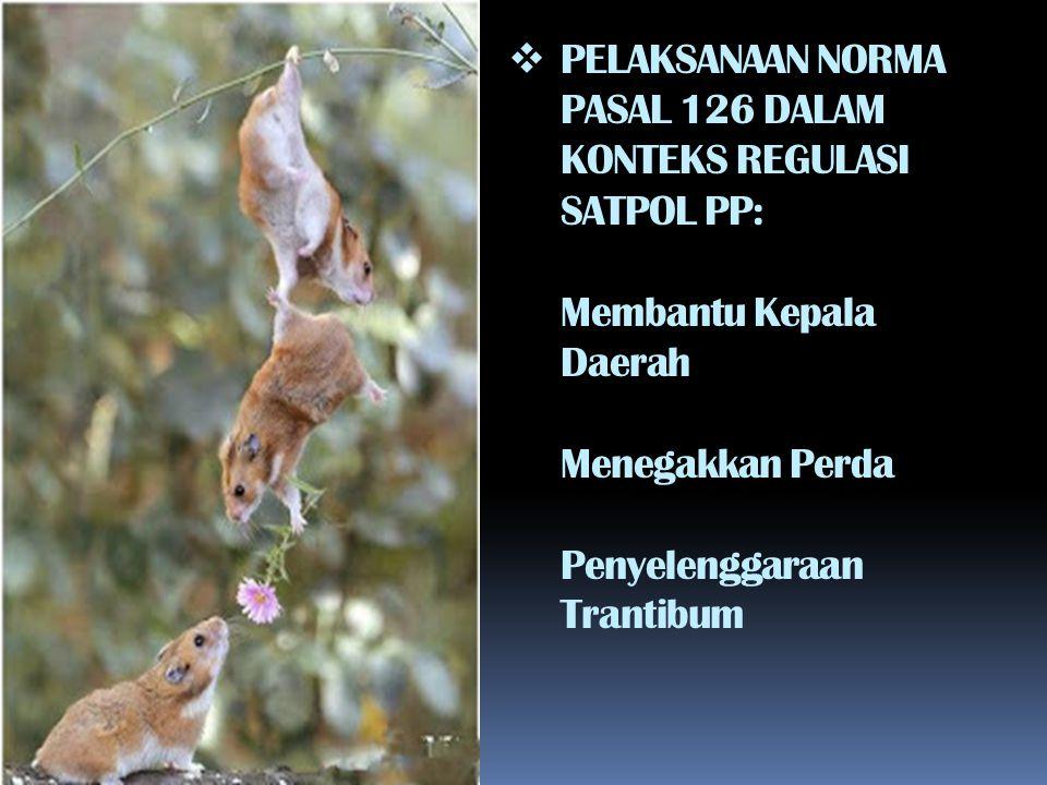  PELAKSANAAN NORMA PASAL 126 DALAM KONTEKS REGULASI SATPOL PP: Membantu Kepala Daerah Menegakkan Perda Penyelenggaraan Trantibum