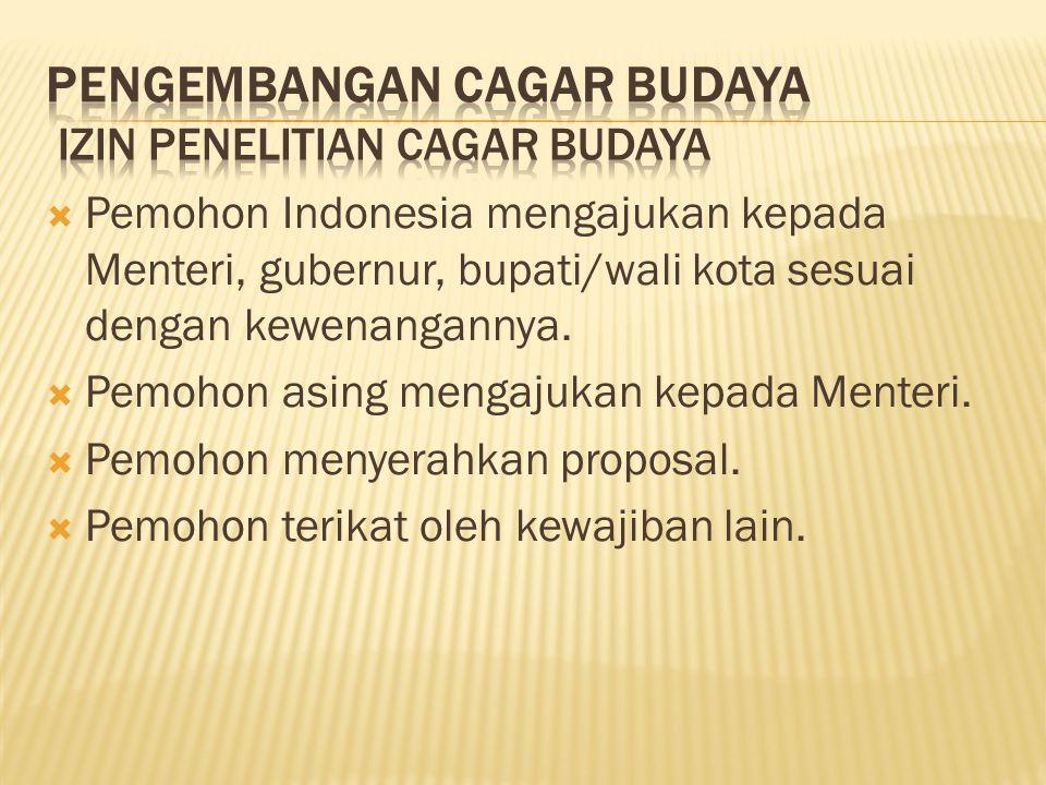  Pemohon Indonesia mengajukan kepada Menteri, gubernur, bupati/wali kota sesuai dengan kewenangannya.