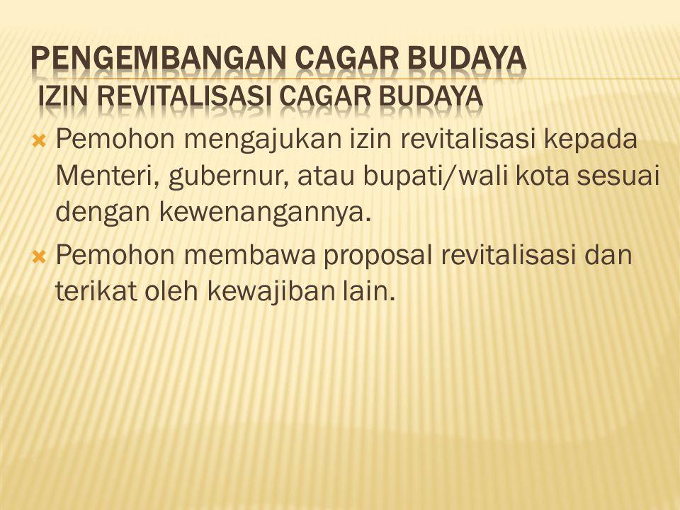  Pemohon mengajukan izin revitalisasi kepada Menteri, gubernur, atau bupati/wali kota sesuai dengan kewenangannya.