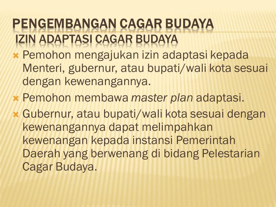  Pemohon mengajukan izin adaptasi kepada Menteri, gubernur, atau bupati/wali kota sesuai dengan kewenangannya.