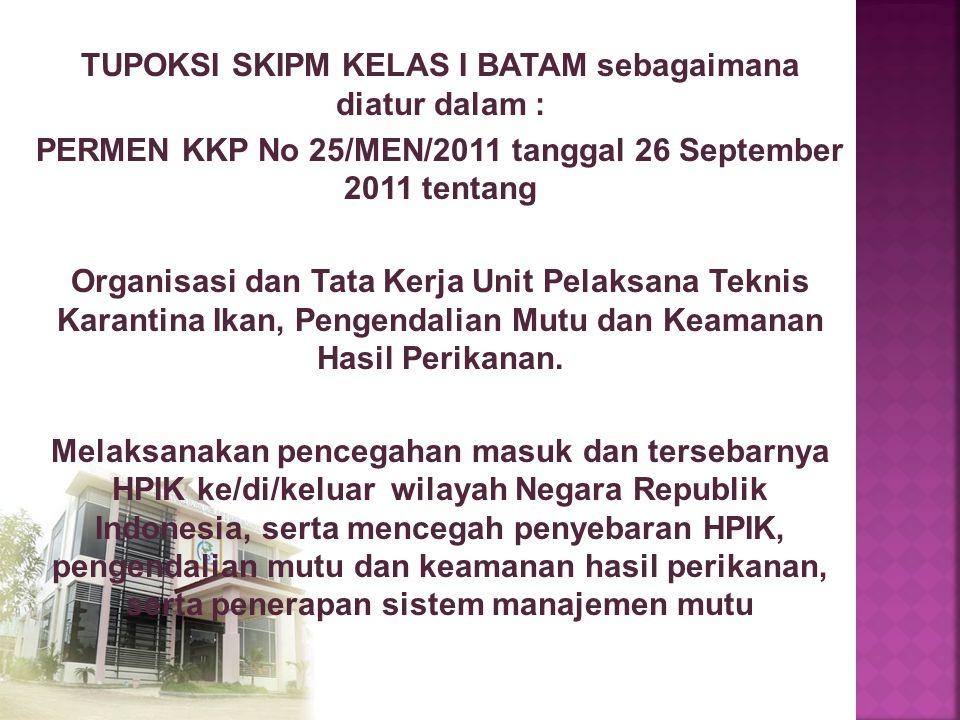 TUPOKSI SKIPM KELAS I BATAM sebagaimana diatur dalam : PERMEN KKP No 25/MEN/2011 tanggal 26 September 2011 tentang Organisasi dan Tata Kerja Unit Pela