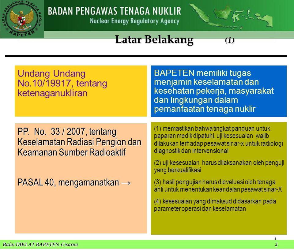 Balai DIKLAT BAPETEN-Cisarua 2 Latar Belakang (2) PERKA BAPETEN No.