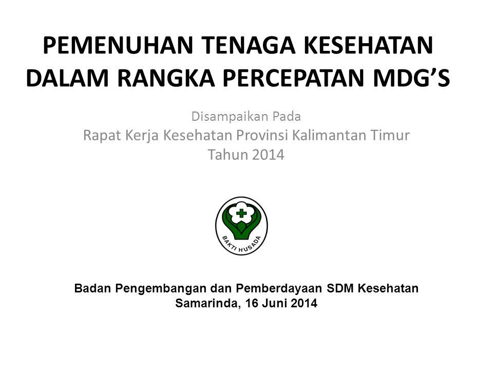 PEMENUHAN TENAGA KESEHATAN DALAM RANGKA PERCEPATAN MDG'S Disampaikan Pada Rapat Kerja Kesehatan Provinsi Kalimantan Timur Tahun 2014 Badan Pengembanga