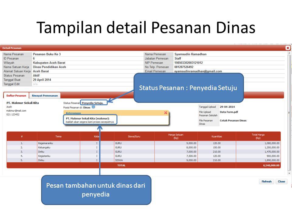 Tampilan detail Pesanan Dinas Status Pesanan : Penyedia Setuju Pesan tambahan untuk dinas dari penyedia