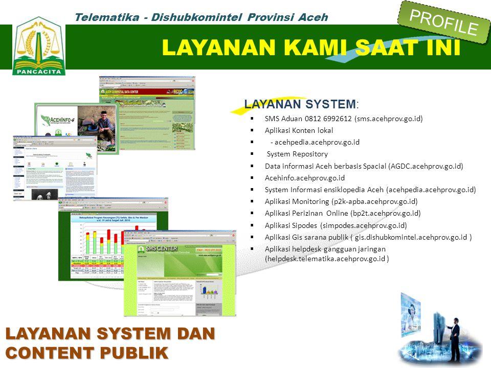 Telematika - Dishubkomintel Provinsi Aceh LAYANAN SYSTEM:  SMS Aduan 0812 6992612 (sms.acehprov.go.id)  Aplikasi Konten lokal  - acehpedia.acehprov