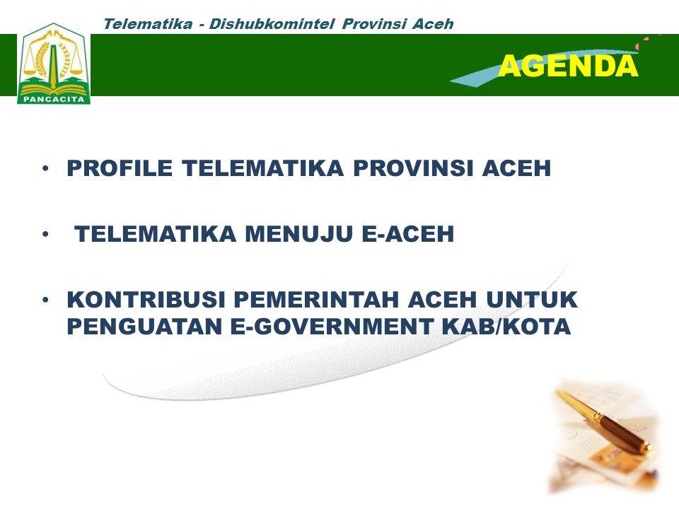 Telematika - Dishubkomintel Provinsi Aceh AGENDA PROFILE TELEMATIKA PROVINSI ACEH TELEMATIKA MENUJU E-ACEH KONTRIBUSI PEMERINTAH ACEH UNTUK PENGUATAN