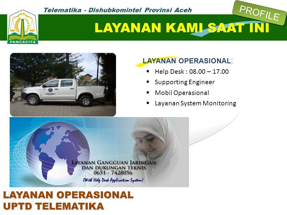 LAYANAN OPERASIONAL:  Help Desk : 08.00 – 17.00  Supporting Engineer  Mobil Operasional  Layanan System Monitoring LAYANAN KAMI SAAT INI LAYANAN O