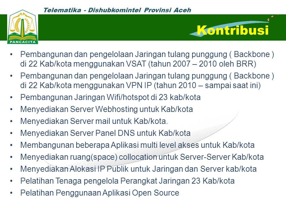 Telematika - Dishubkomintel Provinsi Aceh Pembangunan dan pengelolaan Jaringan tulang punggung ( Backbone ) di 22 Kab/kota menggunakan VSAT (tahun 200