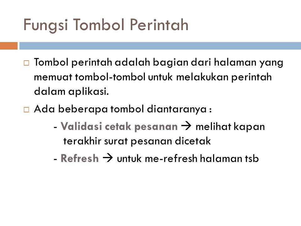 Fungsi Tombol Perintah  Tombol perintah adalah bagian dari halaman yang memuat tombol-tombol untuk melakukan perintah dalam aplikasi.  Ada beberapa