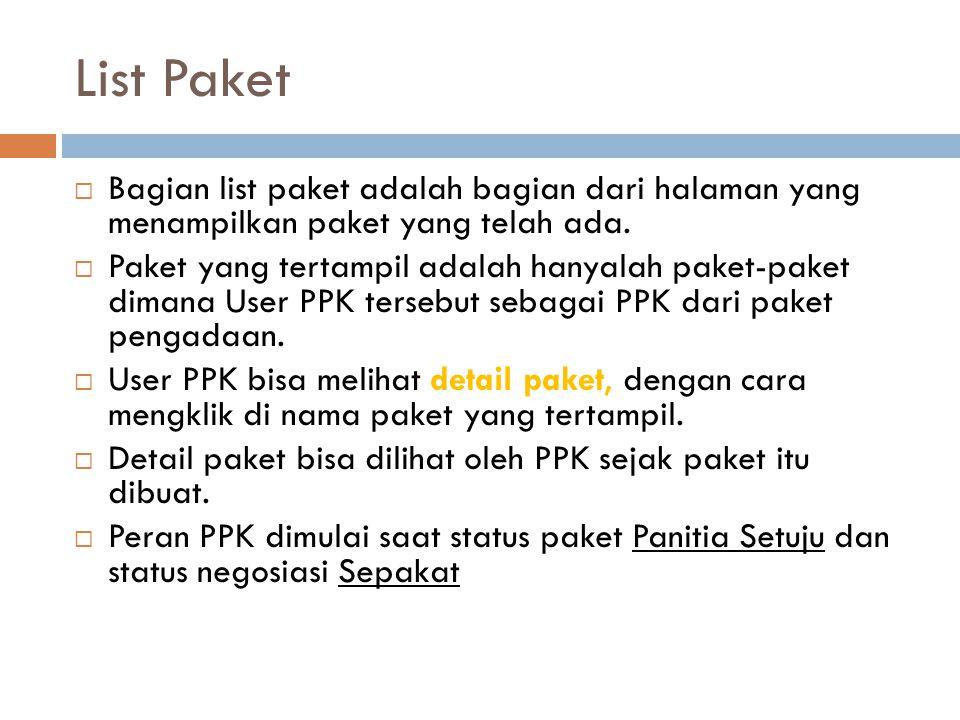 List Paket  Bagian list paket adalah bagian dari halaman yang menampilkan paket yang telah ada.  Paket yang tertampil adalah hanyalah paket-paket di