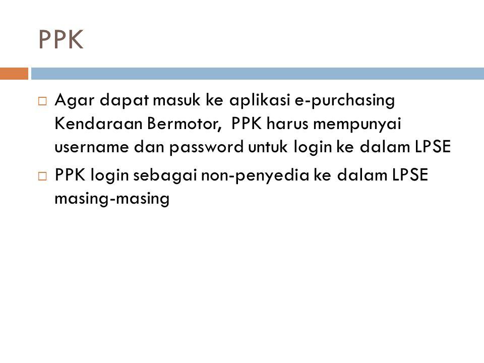 PPK  Agar dapat masuk ke aplikasi e-purchasing Kendaraan Bermotor, PPK harus mempunyai username dan password untuk login ke dalam LPSE  PPK login se