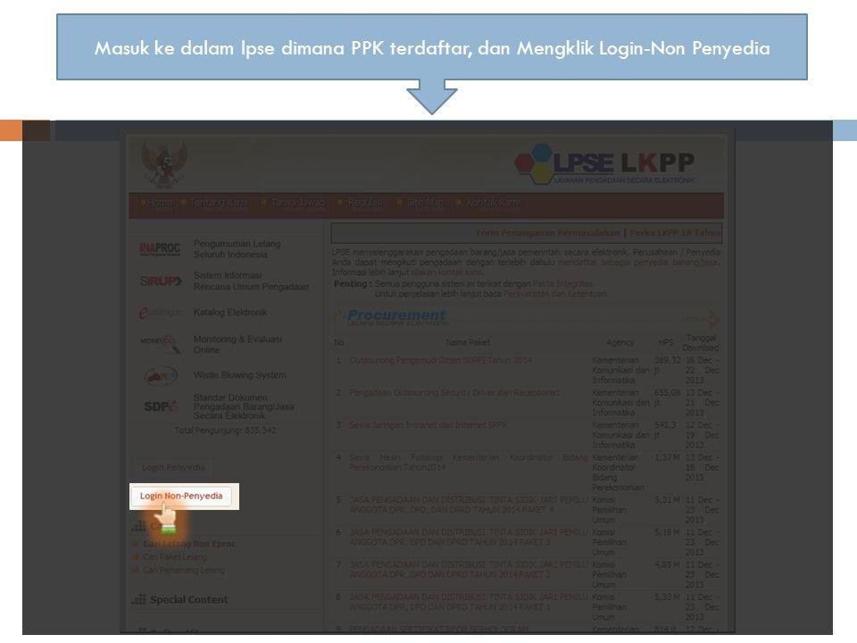 Halaman Login, PPK memasukkan username dan password username *******