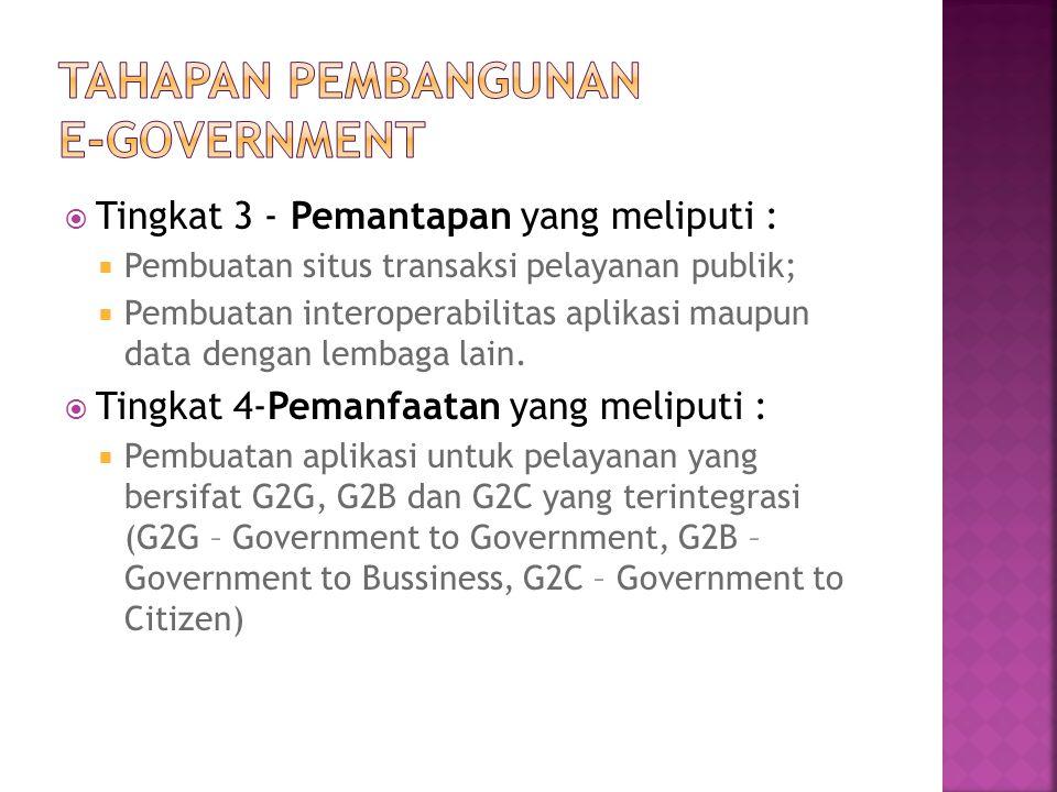  Tingkat 3 - Pemantapan yang meliputi :  Pembuatan situs transaksi pelayanan publik;  Pembuatan interoperabilitas aplikasi maupun data dengan lemba