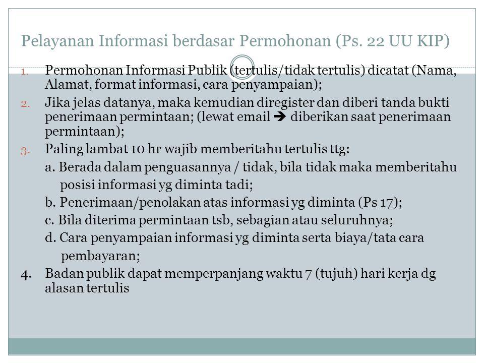 Pelayanan Informasi berdasar Permohonan (Ps. 22 UU KIP) 1.
