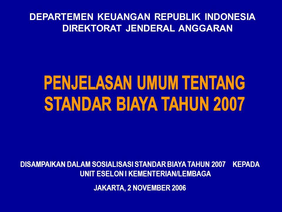 DEPARTEMEN KEUANGAN REPUBLIK INDONESIA DIREKTORAT JENDERAL ANGGARAN DISAMPAIKAN DALAM SOSIALISASI STANDAR BIAYA TAHUN 2007 KEPADA UNIT ESELON I KEMENTERIAN/LEMBAGA JAKARTA, 2 NOVEMBER 2006