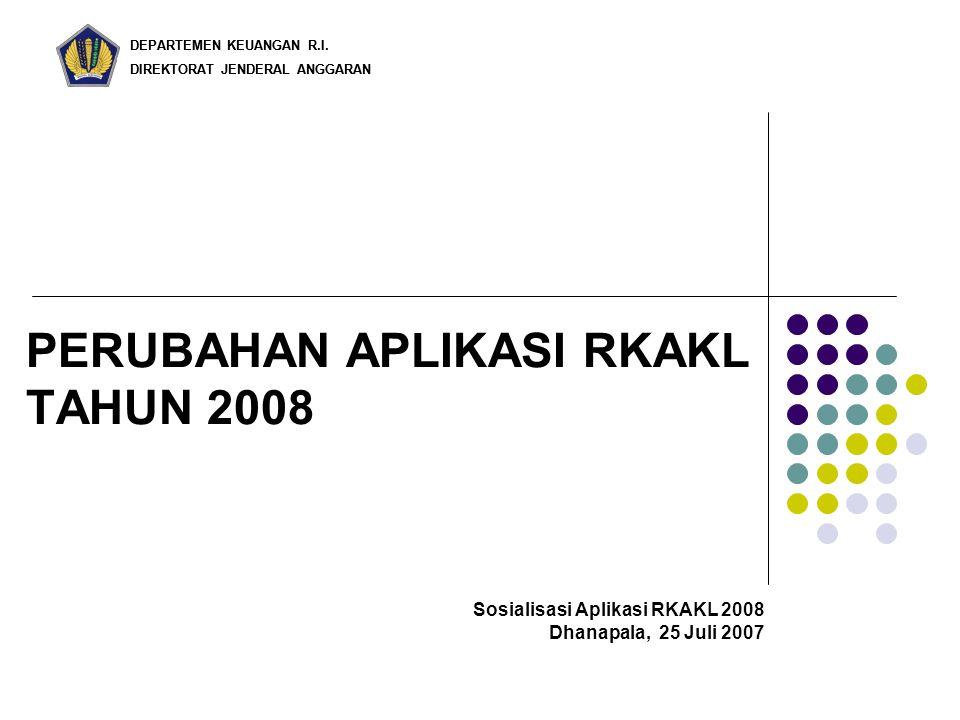 DEPARTEMEN KEUANGAN R.I. DIREKTORAT JENDERAL ANGGARAN PERUBAHAN APLIKASI RKAKL TAHUN 2008 DEPARTEMEN KEUANGAN R.I. DIREKTORAT JENDERAL ANGGARAN Sosial