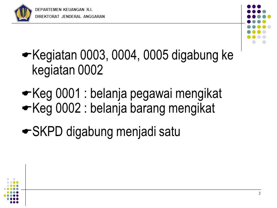 DEPARTEMEN KEUANGAN R.I. DIREKTORAT JENDERAL ANGGARAN 3  Kegiatan 0003, 0004, 0005 digabung ke kegiatan 0002  Keg 0001 : belanja pegawai mengikat 