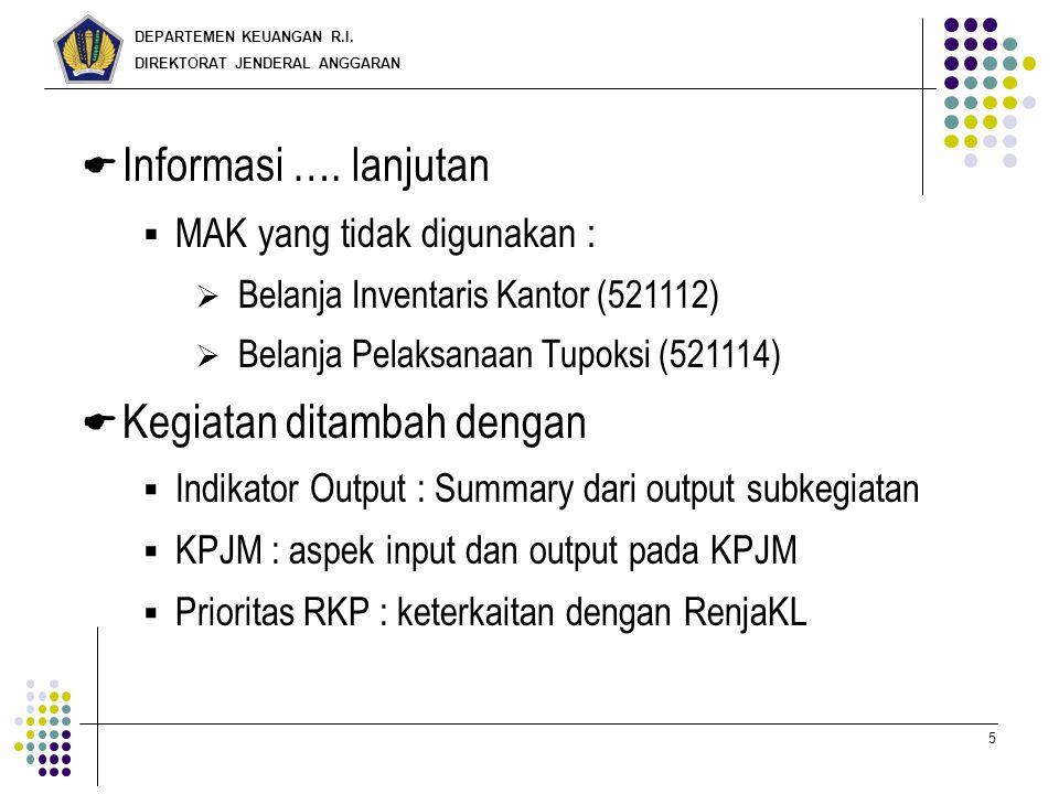DEPARTEMEN KEUANGAN R.I. DIREKTORAT JENDERAL ANGGARAN 5  Informasi …. lanjutan  MAK yang tidak digunakan :  Belanja Inventaris Kantor (521112)  Be