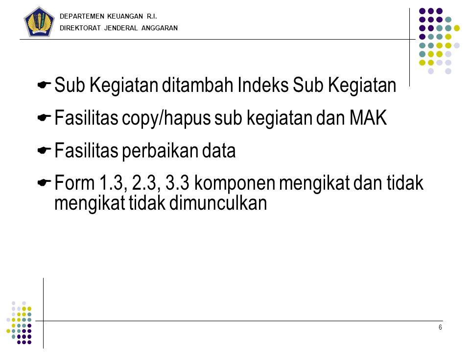DEPARTEMEN KEUANGAN R.I. DIREKTORAT JENDERAL ANGGARAN 6  Sub Kegiatan ditambah Indeks Sub Kegiatan  Fasilitas copy/hapus sub kegiatan dan MAK  Fasi