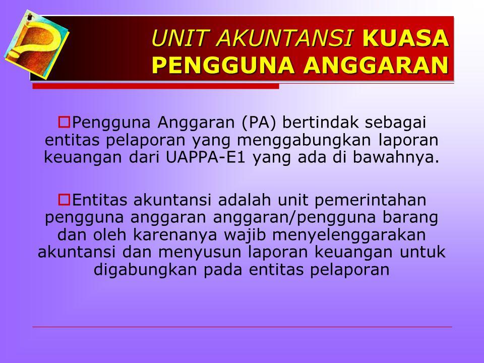 UNIT AKUNTANSI KUASA PENGGUNA ANGGARAN  Pengguna Anggaran (PA) bertindak sebagai entitas pelaporan yang menggabungkan laporan keuangan dari UAPPA-E1 yang ada di bawahnya.