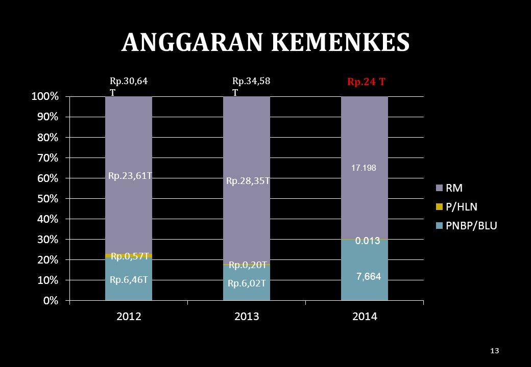 13 ANGGARAN KEMENKES Rp.30,64 T Rp.34,58 T Rp.24 T 17.198 0.013 7,664