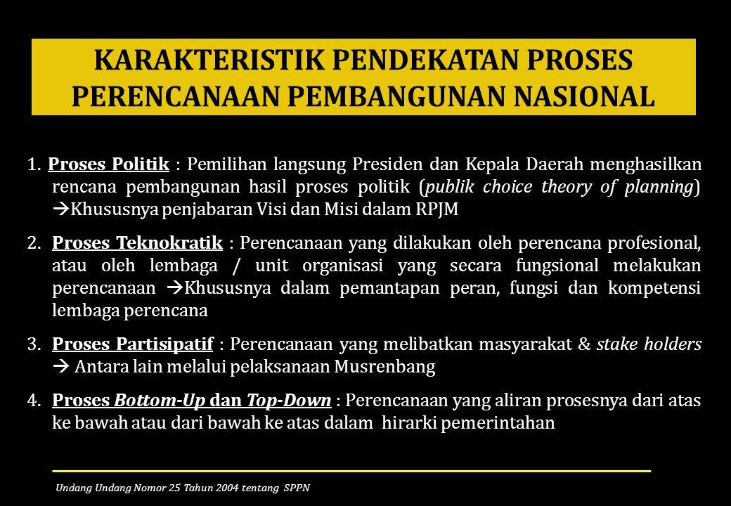 KARAKTERISTIK PENDEKATAN PROSES PERENCANAAN PEMBANGUNAN NASIONAL 1. Proses Politik : Pemilihan langsung Presiden dan Kepala Daerah menghasilkan rencan