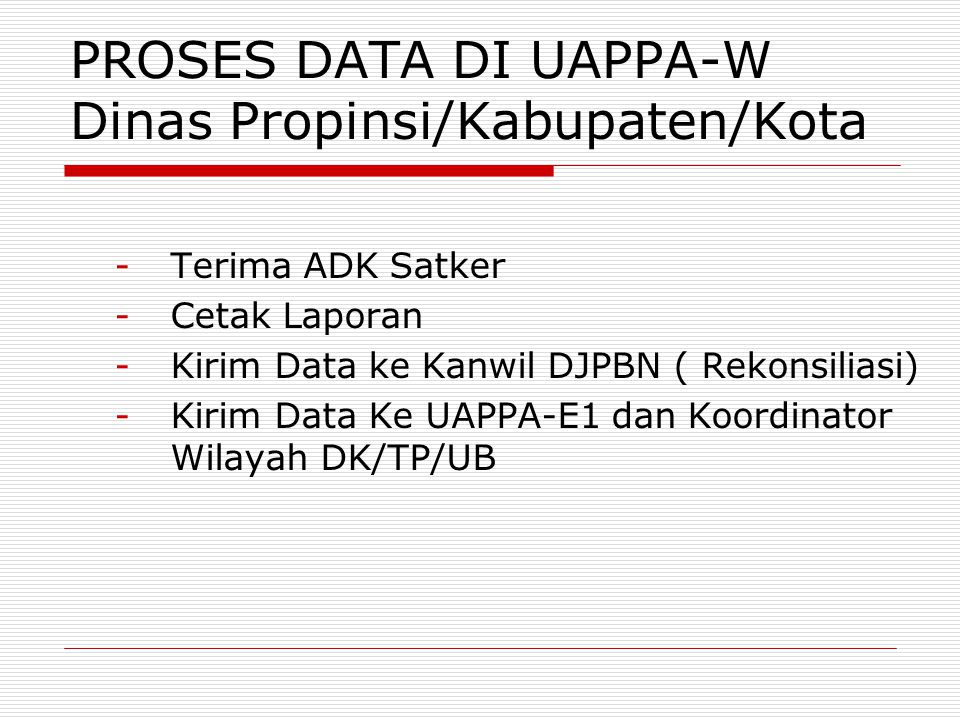 PROSES DATA DI UAPPA-W Dinas Propinsi/Kabupaten/Kota -Terima ADK Satker -Cetak Laporan -Kirim Data ke Kanwil DJPBN ( Rekonsiliasi) -Kirim Data Ke UAPP