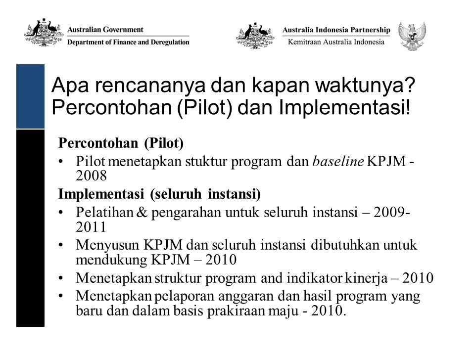 Apa rencananya dan kapan waktunya? Percontohan (Pilot) dan Implementasi! Percontohan (Pilot) Pilot menetapkan stuktur program dan baseline KPJM - 2008