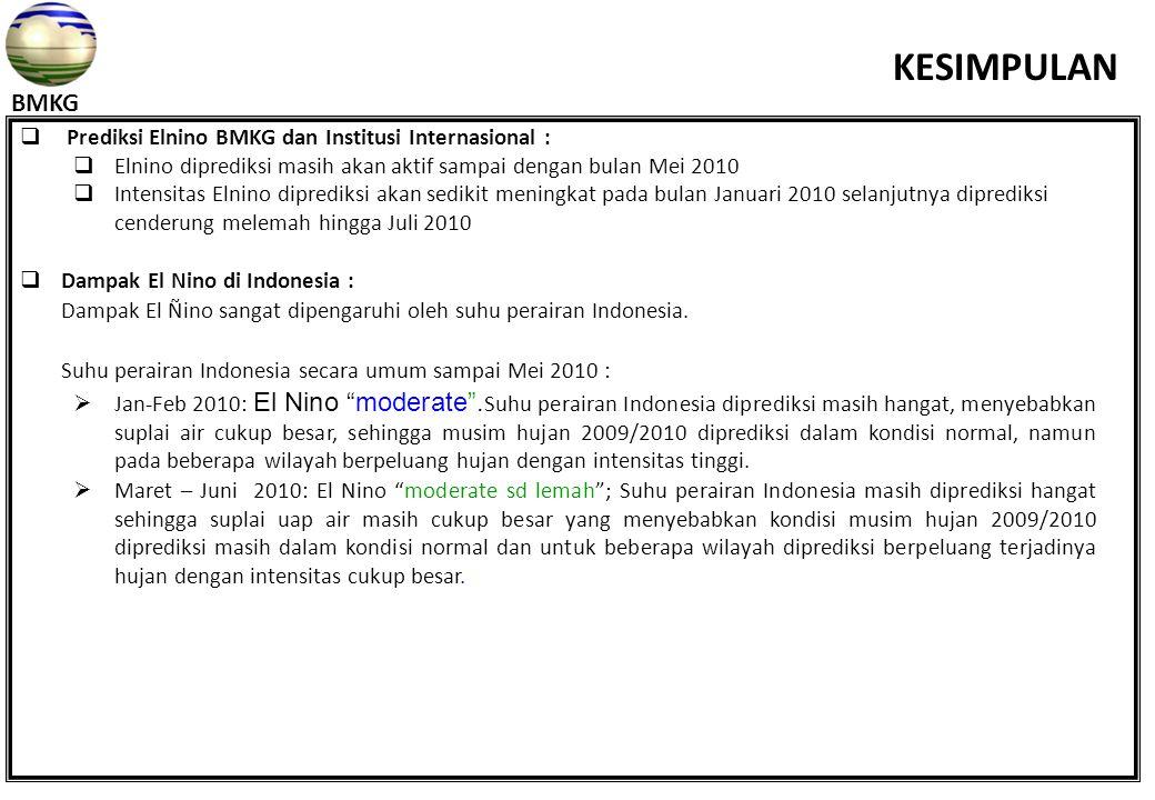  Prediksi Elnino BMKG dan Institusi Internasional :  Elnino diprediksi masih akan aktif sampai dengan bulan Mei 2010  Intensitas Elnino diprediksi akan sedikit meningkat pada bulan Januari 2010 selanjutnya diprediksi cenderung melemah hingga Juli 2010  Dampak El Nino di Indonesia : Dampak El Ñino sangat dipengaruhi oleh suhu perairan Indonesia.