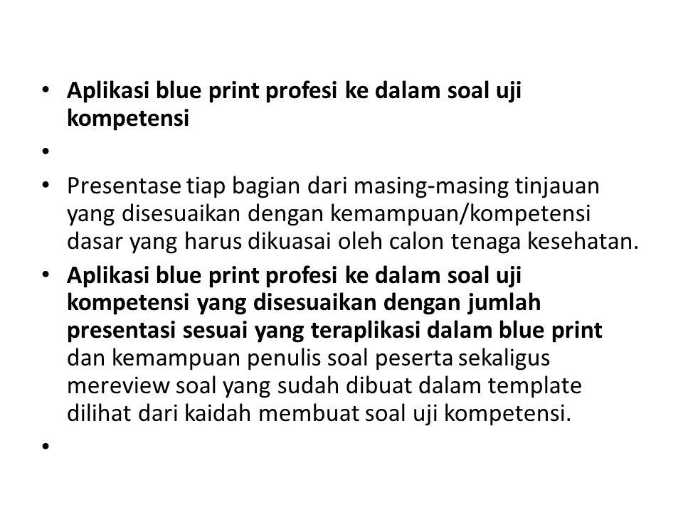 Aplikasi blue print profesi ke dalam soal uji kompetensi Presentase tiap bagian dari masing-masing tinjauan yang disesuaikan dengan kemampuan/kompeten