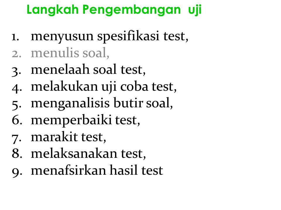 1.menyusun spesifikasi test, 2.menulis soal, 3.menelaah soal test, 4.melakukan uji coba test, 5.menganalisis butir soal, 6.memperbaiki test, 7.marakit