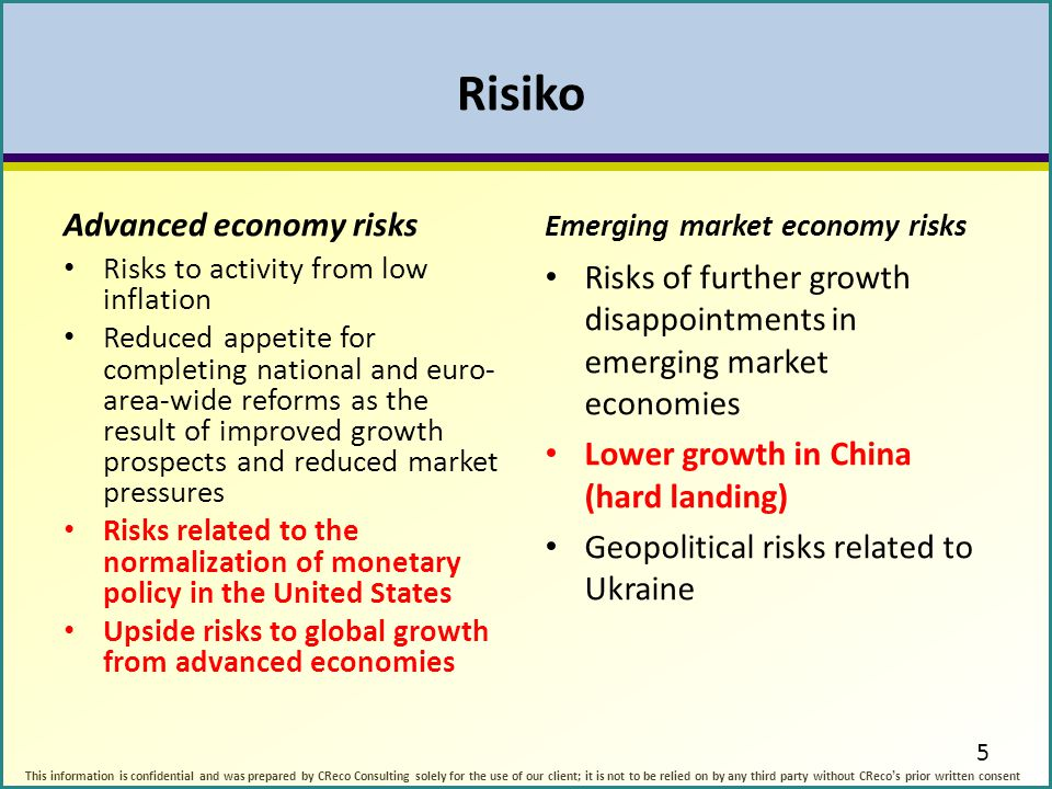 Risiko Advanced economy risks Risks to activity from low inflation Reduced appetite for completing national and euro- area-wide reforms as the result