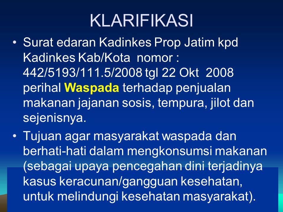 KLARIFIKASI Surat edaran Kadinkes Prop Jatim kpd Kadinkes Kab/Kota nomor : 442/5193/111.5/2008 tgl 22 Okt 2008 perihal Waspada terhadap penjualan makanan jajanan sosis, tempura, jilot dan sejenisnya.