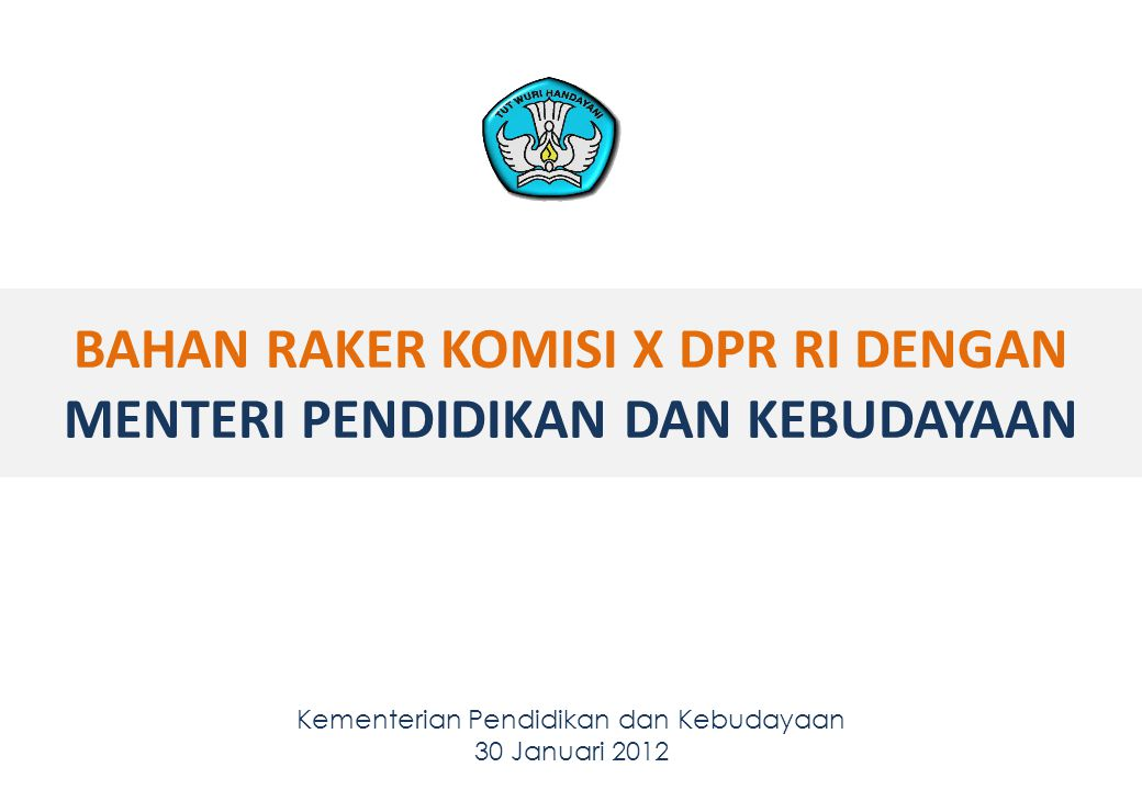 BAHAN RAKER KOMISI X DPR RI DENGAN MENTERI PENDIDIKAN DAN KEBUDAYAAN Kementerian Pendidikan dan Kebudayaan 30 Januari 2012 11