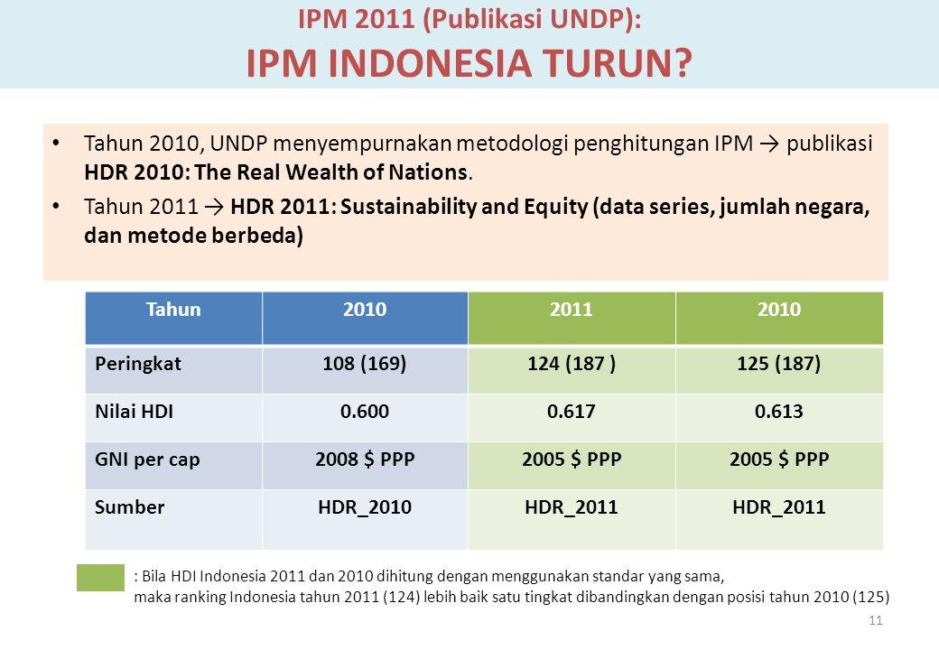 IPM 2011 (Publikasi UNDP): IPM INDONESIA TURUN? Tahun 2010, UNDP menyempurnakan metodologi penghitungan IPM → publikasi HDR 2010: The Real Wealth of N