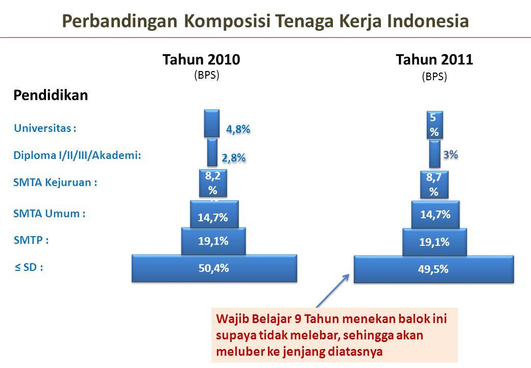 (BPS) 50,4% 19,1% SMTA Umum : SMTA Kejuruan : Diploma I/II/III/Akademi: Perbandingan Komposisi Tenaga Kerja Indonesia Pendidikan Tahun 2010Tahun 2011
