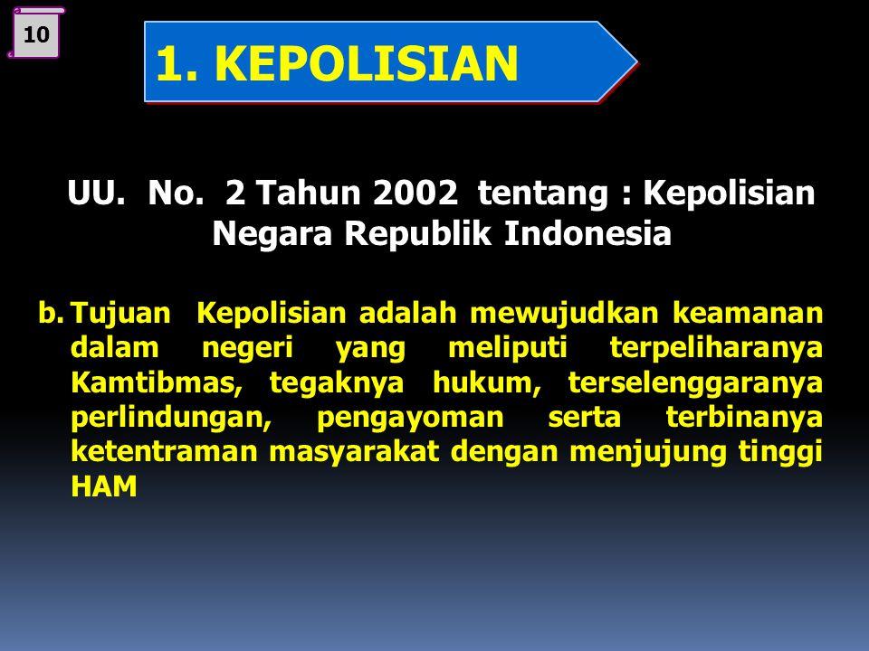 09 UU. No. 2 Tahun 2002 tentang : Kepolisian Negara Republik Indonesia a. Fungsi Kepolisian adalah satu fungsi pemerintahan negara di bidang Kamtibmas