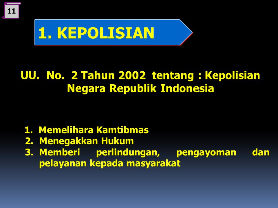 10 UU. No. 2 Tahun 2002 tentang : Kepolisian Negara Republik Indonesia b.Tujuan Kepolisian adalah mewujudkan keamanan dalam negeri yang meliputi terpe