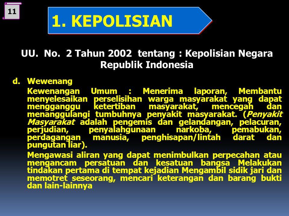 11 UU. No. 2 Tahun 2002 tentang : Kepolisian Negara Republik Indonesia c. 1. Memelihara Kamtibmas 2. Menegakkan Hukum 3.Memberi perlindungan, pengayom