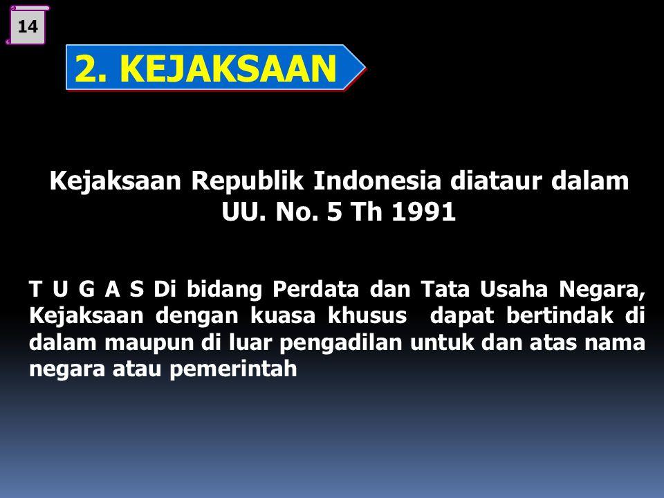 13 Kejaksaan Republik Indonesia diataur dalam UU. No. 5 Th 1991 T U G A S : Di bidang Pidana Melakukan penuntutan dalam perkara pidana (kejahatan) Mel