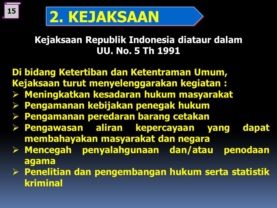 14 Kejaksaan Republik Indonesia diataur dalam UU. No. 5 Th 1991 T U G A S Di bidang Perdata dan Tata Usaha Negara, Kejaksaan dengan kuasa khusus dapat