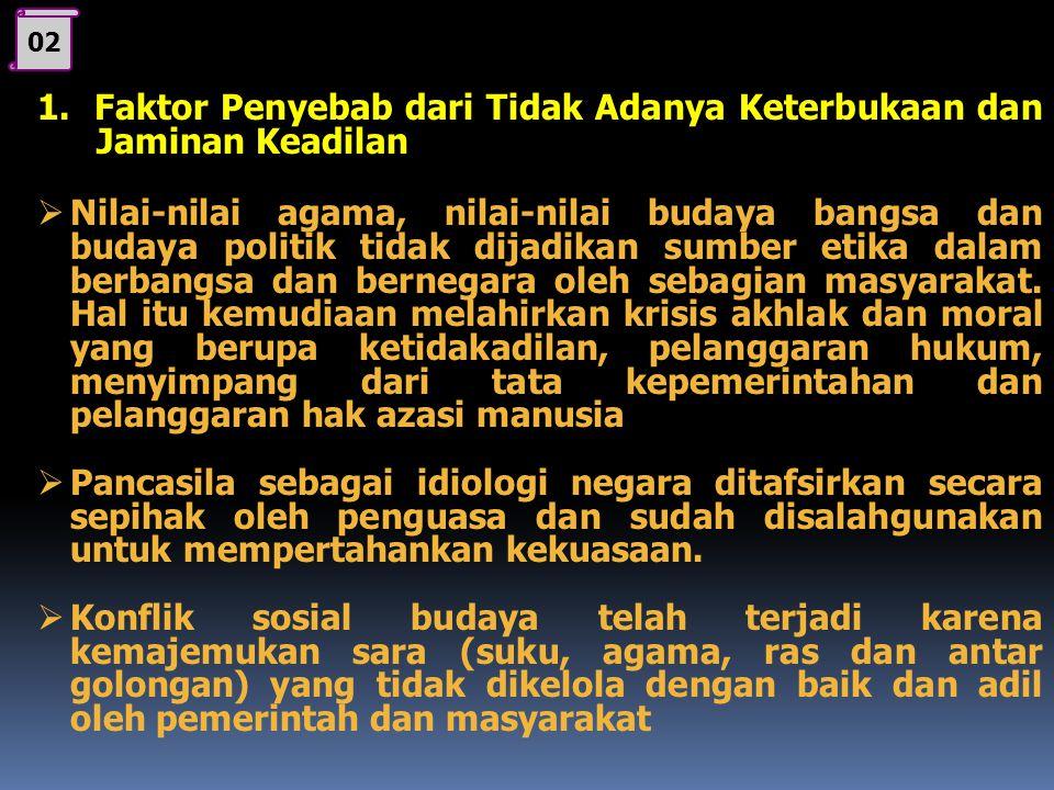 1 C. Penyelenggaraan pemerintahan yg tidak trasparan 1. Faktor penyebab dari tidak adanya keterbukaan dan jaminan keadilan 2. Akibat atau dampak penye