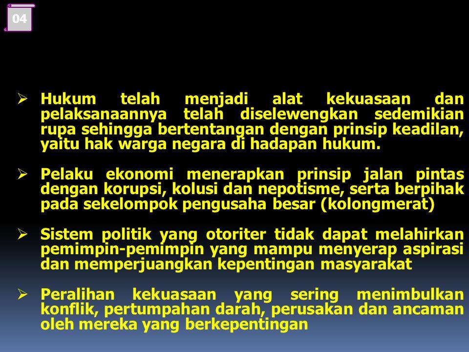 03 1. Faktor Penyebab dari Tidak Adanya Keterbukaan dan Jaminan Keadilan  Nilai-nilai agama, nilai-nilai budaya bangsa dan budaya politik tidak dijad