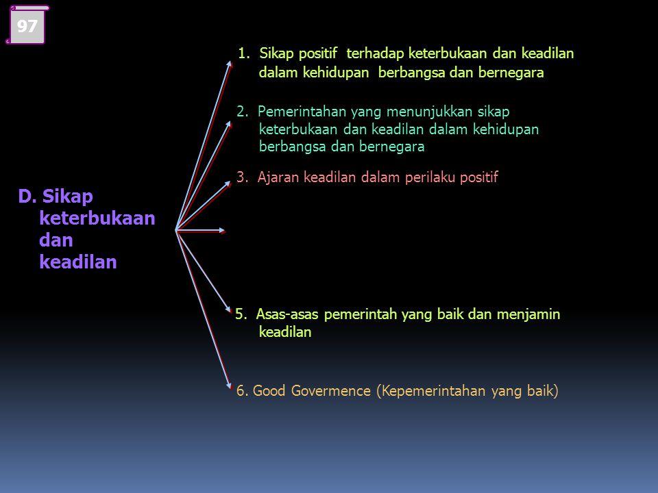 STANDAR KOMPETENSI 3 Menampilkan sikap keterbukaan dan keadilan dalam kehidupan berbangsa dan bernegara Kompetensi Dasar : 3.3 Menunjukkan sikap keter